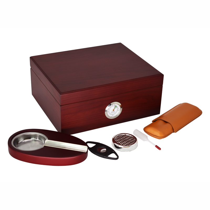 High-end mellow cedar wood Humidor Smoking Sets Cherry Black Cigar Storage Box With Cigar Ashtray Cutter Leather Case Gift SetsHigh-end mellow cedar wood Humidor Smoking Sets Cherry Black Cigar Storage Box With Cigar Ashtray Cutter Leather Case Gift Sets