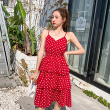 Summer Midi Women Dress Spring V Neck Sleeveless Dot A Line Casual Female High Waist Elegant Maxi Red Pleated Cake Dresses maxi high waist pleated a line dress