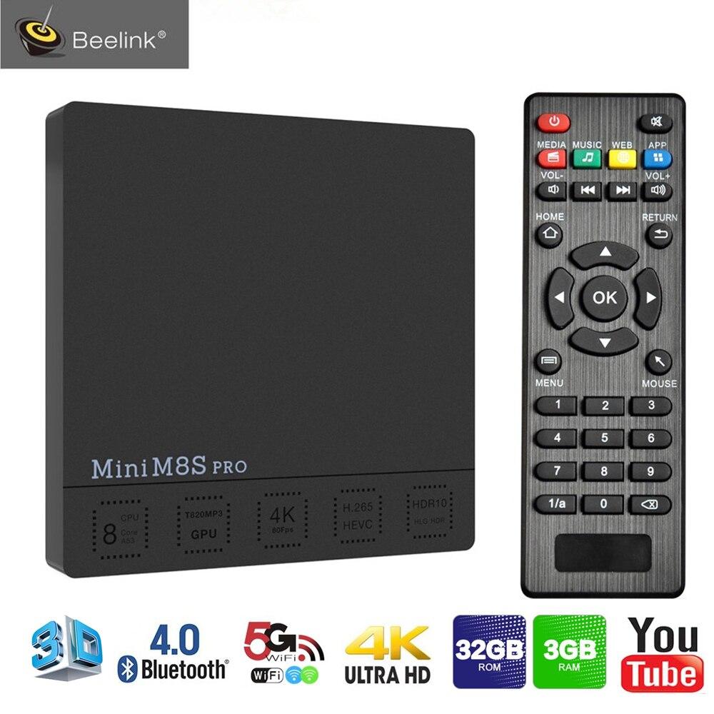 Beelink Mini M8S PRO Caixa de TV Android 7.1 Octa Núcleo 3 GB 32 GB S912 Amlogic TV Set Top Box 4 K 5G/2.4G Wifi BT4.0 100LAN Mídia jogador