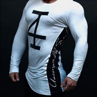 Mens Fashion T Shirt Spring Summer New Leisure Shirts Fitness Bodybuilding Long Sleeve Male Personality Slim