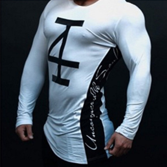 Mens fashion t shirt Spring summer new Leisure shirts Fitness Bodybuilding Long sleeve male personality Slim tee Tops clothing