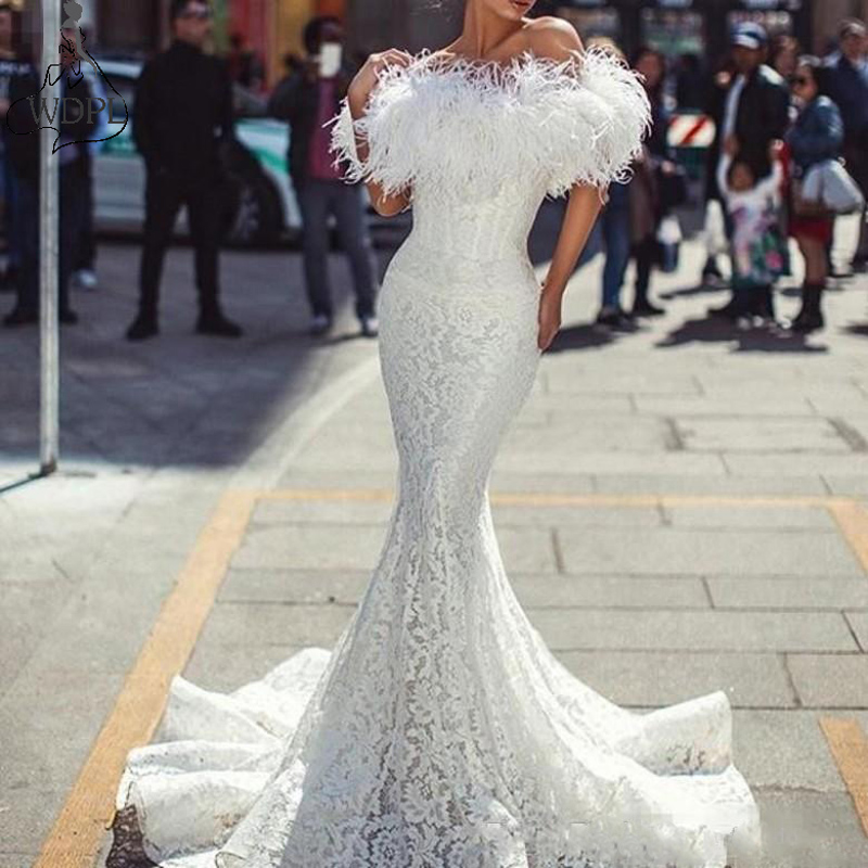 2019 White   Prom     Dresses   with Feathers Sexy Off The Shoulder Mermaid Evening   Dress   Vintage Lace Fishtail Formal Party   Dress