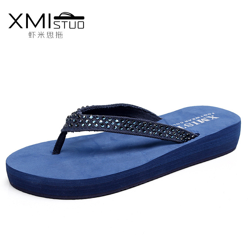 XMISTUO Brand Women Flip Flops Wedges Platform Slippers Beach Thick Heel Sandals Rhinestone Slippers Slides Women Summer Shoes