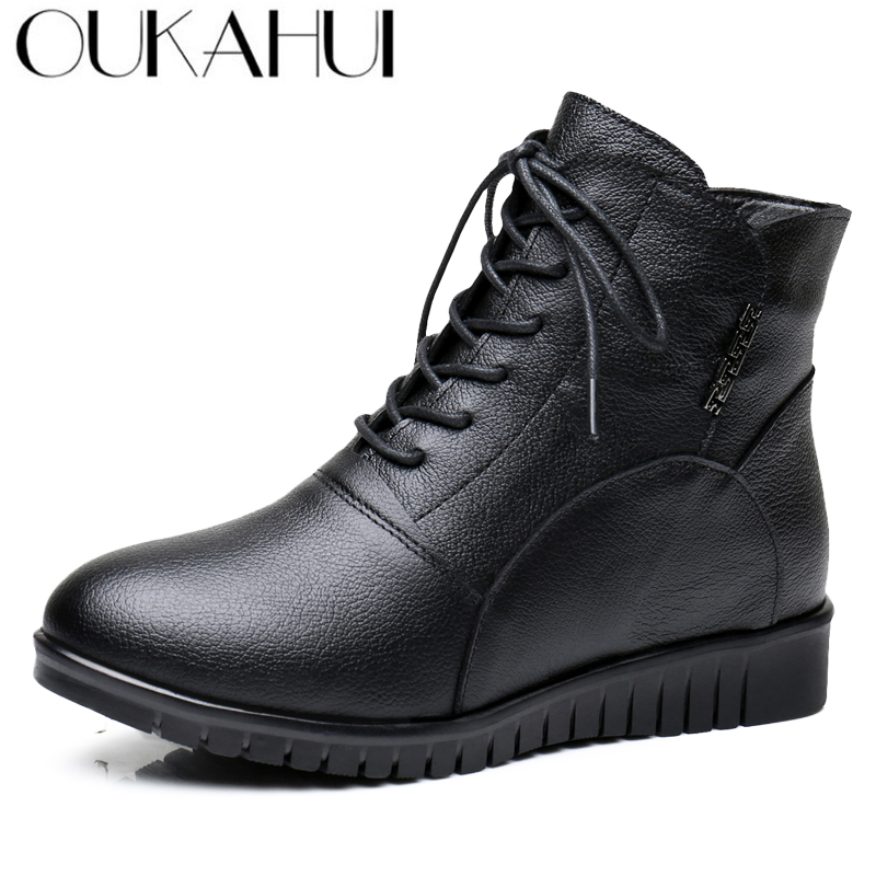 OUKAHUI Female Genuine Leather Winter Mid Calf Boots For Women Round Toe Thick Plush Warm Short Boots Women Leather Cotton Shoes 2017 black women boots sheepskin winter warm plush female boots mid calf genuine leather women shoes