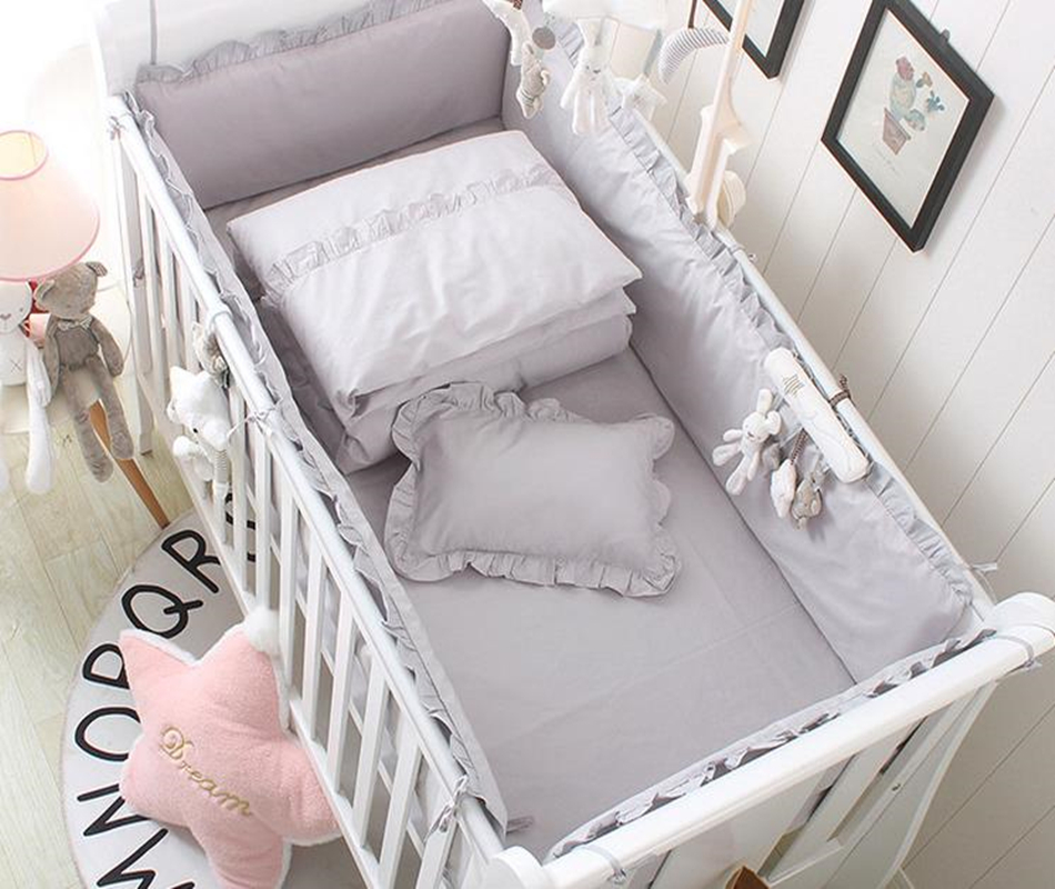 Baby Bedding Set Bumper Cotton Princess Style Baby Bed Linens   Infant Crib Bedding Set Mattress Cover Protector Baby Bed Set