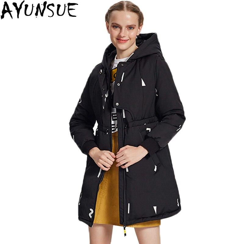 Ayunsue 90 Down Jacket Winter Women Long Coat Loose Fake