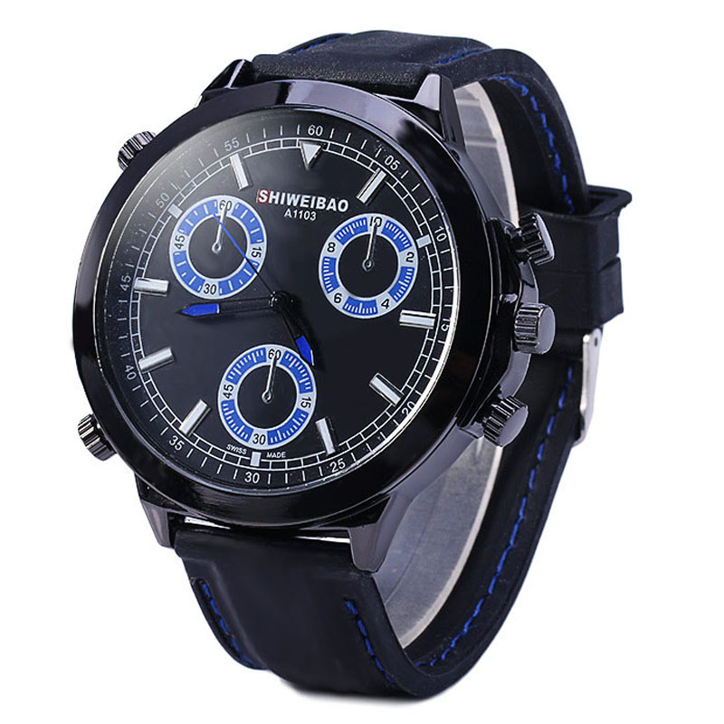 Shiweibao Quartz Watches Men Luxury Brand Wristwatches Man Fashionable Black Rubber Strap Mens Sports Watches Clock Male New
