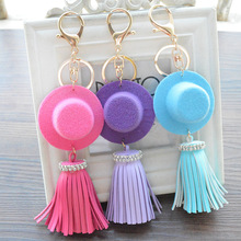 Trendy Hat PU Leather Tassel Keychain Key Ring for Women Girl Bag Purse Charms Key Chains Mobile Phone Pendant Accessories