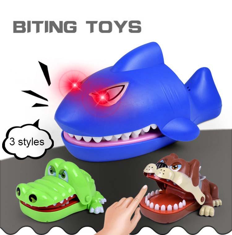 2018 New Bulldog Crocodile Shark Mouth Dentist Bite Finger Game Funny Gag Toy For Kids Children Play Toys -17