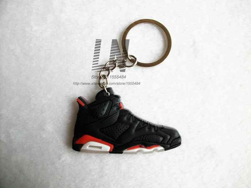 ミニシリコーンジョーダン 6 キーホルダーバッグチャーム女性男性子供キーリングギフトスニーカーキーホルダーペンダントアクセサリー靴キーチェーン