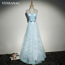 VENSANAC 2018 Pearls V Neck Bow Sash A Line Long Evening Dresses Party Lace Embroidery Illusion Backless Prom Gowns