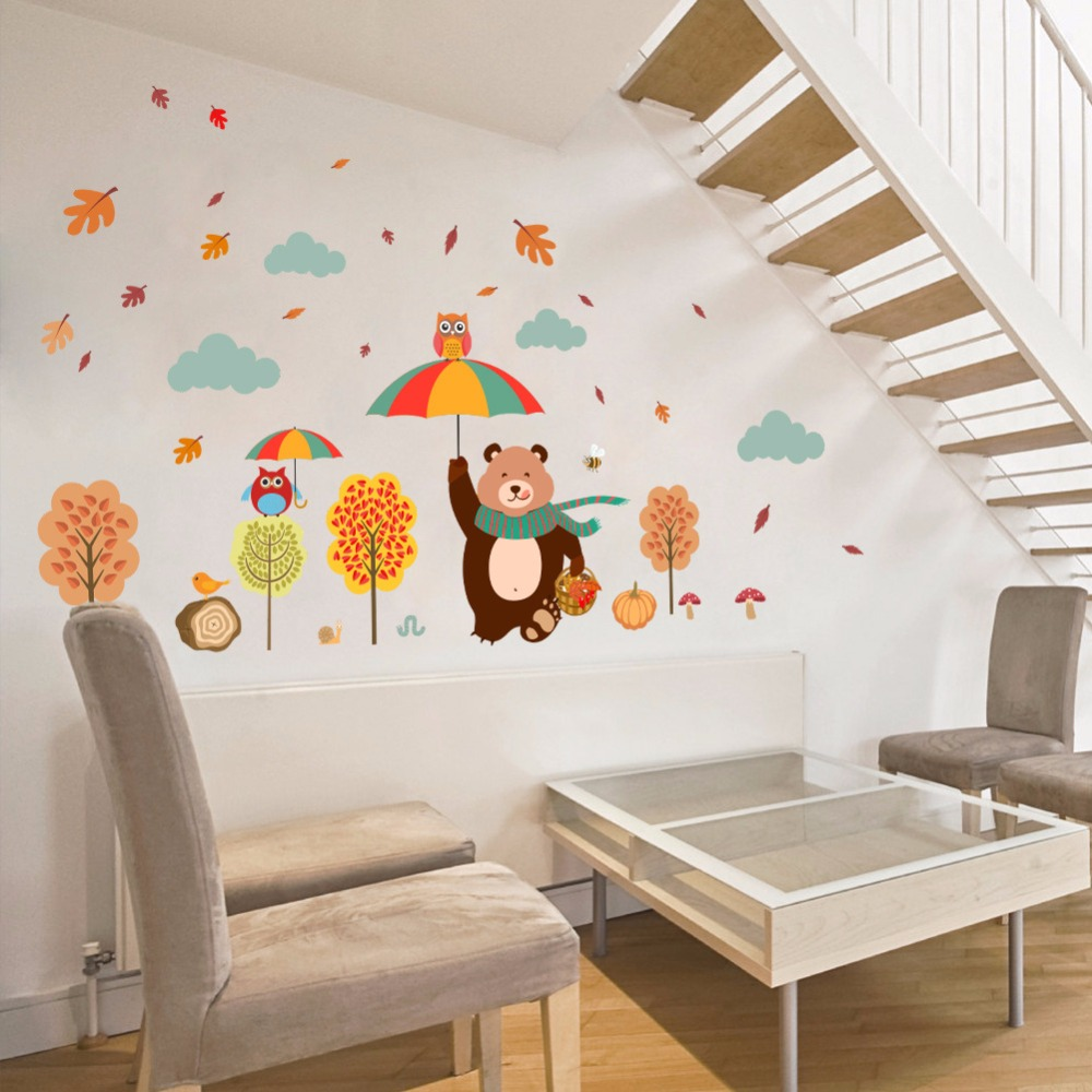% Forest Tree Branch leaf Animal Cartoon Owl Bear Wall Stickers Kids Rooms Boys Girls Children Bedroom Home Decor living room