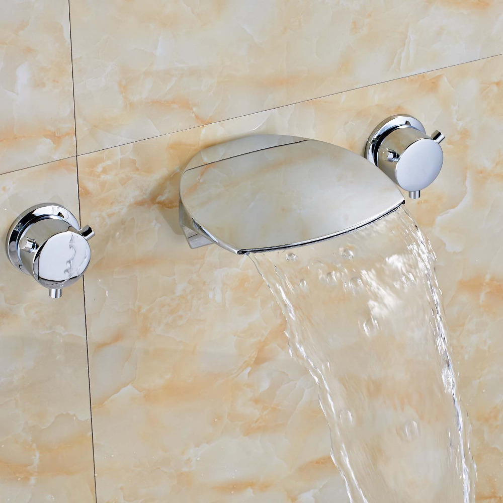 Newly Vanity Wall Mounted Chrome Polish Dual Handles Sink Tub Faucet Mixer Tap Ceramic Valve Faucet