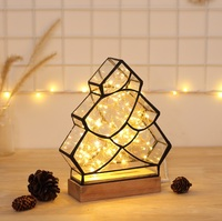 3D Solid Wood Polygon Fire tree silver flower Table Lamp , And Christmas Decorative Night Light