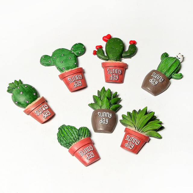 4pcs creative fridge magnet lovely cactus three dimensional magnetic stickers