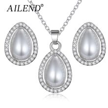new rose gold Color simulated pearl jewelry Set for women fashion spheroid crystal leaf earrings NECKLACE PENDANT sets gift 2018(China)
