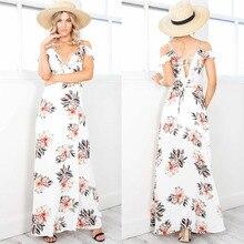 Ruiyige Ladies Summer Beach Wear Chiffon Sexy Camis Strappy Dress Floral V Neck Side Split Dress Waistband Boho Maxi Vestisdo