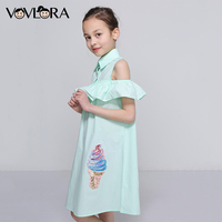 Kids Ruffles Dress Shoulder Cotton Sleeveless Girls Summer Dress Woven Sequins Children Clothes 2018 Size 7