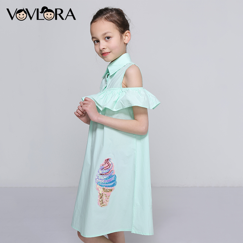Kids Ruffles Dress Shoulder Cotton Sleeveless Girls Summer Dress Woven Sequins Children Clothes 2018 Size 7 8 9 10 11 12 Years 2017 summer girls clothes blue stripe dress for girls kids ruffles dress headband korean children dress new cotton kids wear