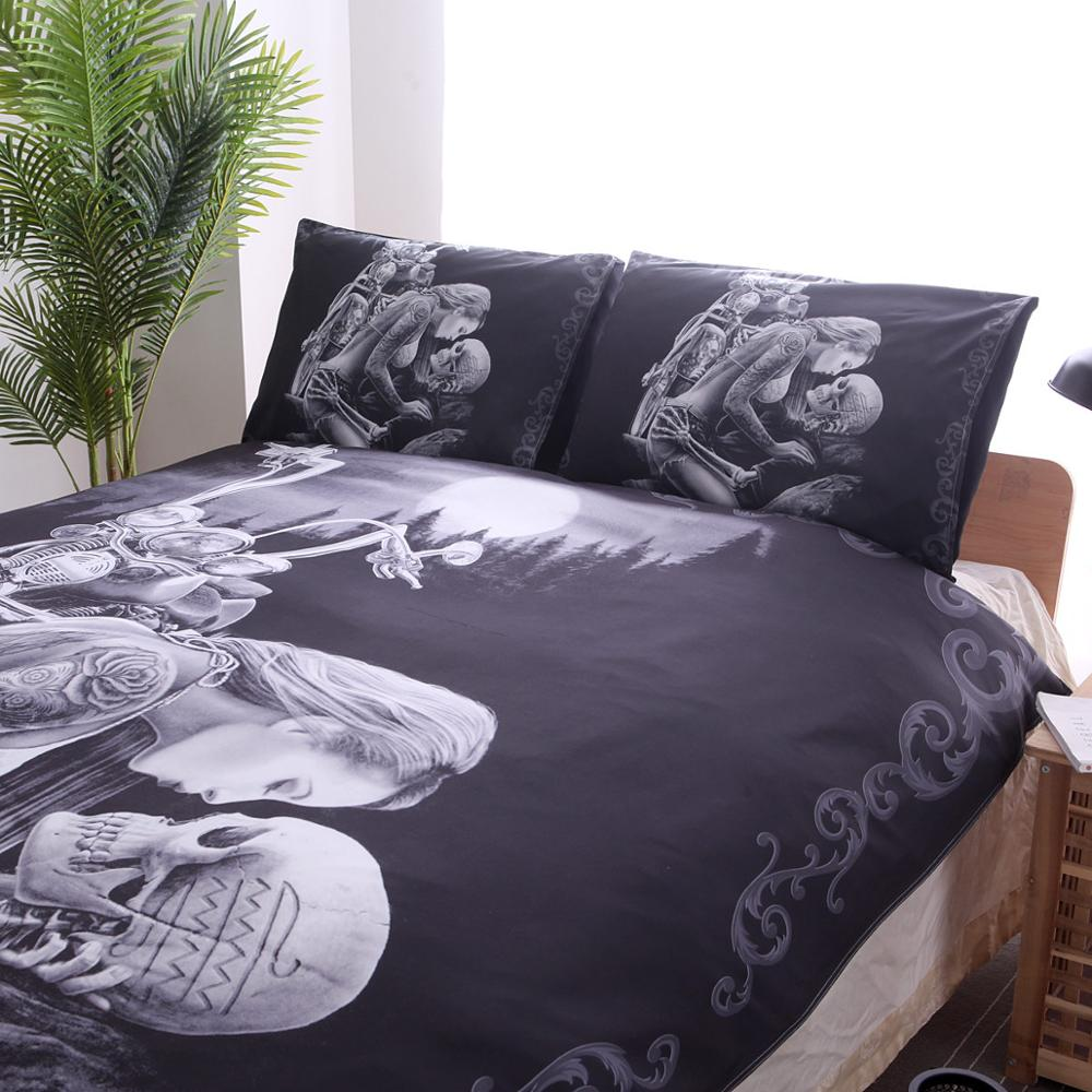 Image 4 - New 3D Black Motorcycle Skull Printed Duvet Cover Set 2/3pcs Single Queen King Bedclothes  Bed Linen Bedding Sets No sheet SJ126-in Bedding Sets from Home & Garden
