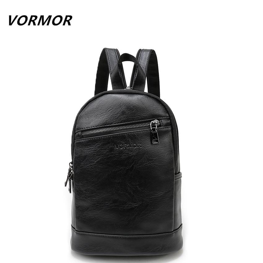 VORMOR Multifunction <font><b>Leather</b></font> Small <font><b>Backpack</b></font> Bag Waterproof Fashion Chest Pack Bags For Men Women