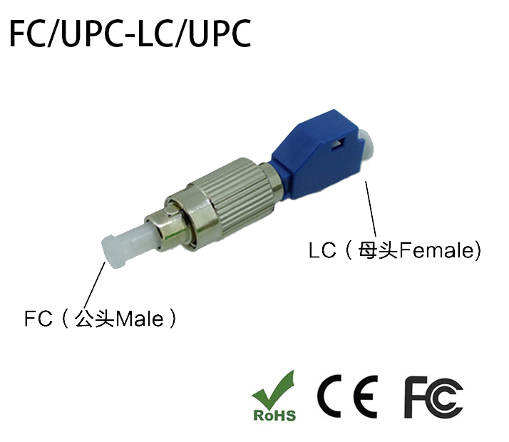 FC-LC Hybrid Adapter Single Mode SM 9/125 Fiber Optic Adapter 2.5mm To 1.25mm LC(Female) To FC(Male) Connector