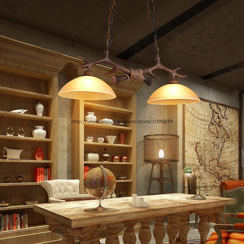 Antler Chandelier Lamp Rustic Industrial Design Glass Lampshade Dining Room Deco 2 Lights