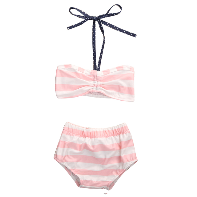 97bbd24f75 Baby Girls Swimsuit 2017 New Arrival Cute Pink Striped Toddler Newborn Kids Girls  Bikini Set Swimwear Bathing Swimming Costume