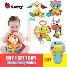 Купить с кэшбэком 1pcs Sozzy Multifunctional Baby Toys Rattles Mobiles Soft Cotton Infant Pram Stroller Car Bed Rattles Hanging Animal Plush Toys