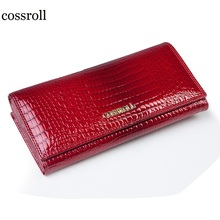 cossroll famous brand women wallets genuine leather long purse luxury brand women wallet leather ladies coin purse