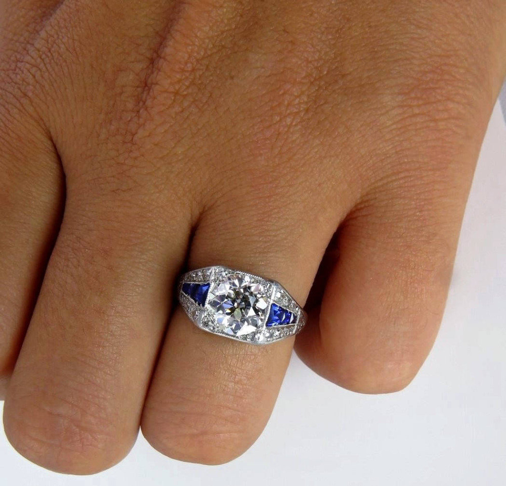 Elegant Blue Stone Ring Sparking White Cubic Zircon Silver Jewelry Accessories Princess Party Ring for Women in Rings from Jewelry Accessories