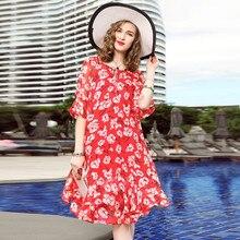 L9ZT1075-2 European and American high-end Spring women's clothing  Chiffon printing Dress Women lotus leaf pure 100% Silk Dress