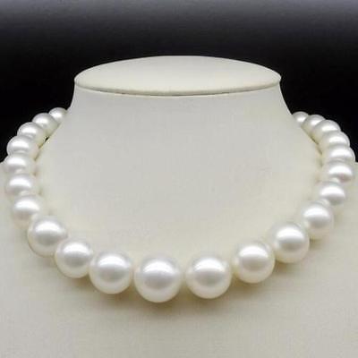 Free shipping >>round 12-14m natural south seas white pearl necklace 18inchFree shipping >>round 12-14m natural south seas white pearl necklace 18inch