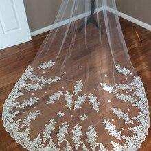 Romantic White Ivory 3 M Long Wedding Veils Lace Appliques 2018 Wedding Accessories One Layer Bridal Veils voile de mariee