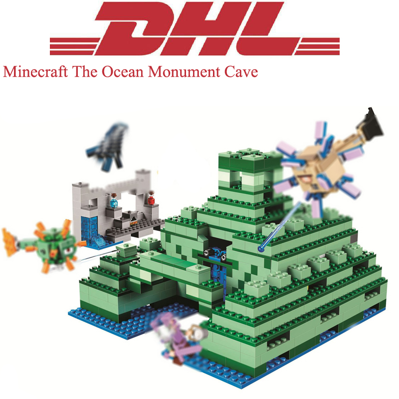 1134Pcs Minecrafted The Ocean Monument Cave Model Building Kits Blocks Bricks Toys For Children Christmas Gift Compatible 21136 black pearl building blocks kaizi ky87010 pirates of the caribbean ship self locking bricks assembling toys 1184pcs set gift