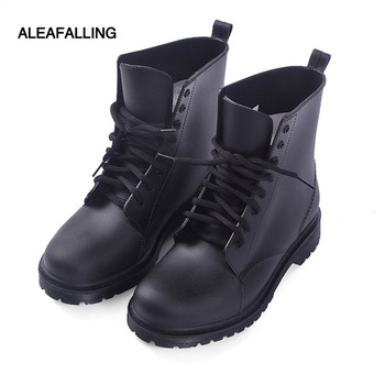 Aleafalling new design rain boots waterproof shoes woman water rubber lace up ankle mature boots good quality botas chundong809