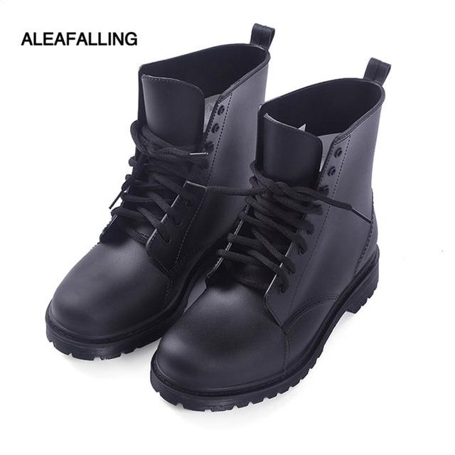 Aleafalling neue design regen stiefel wasserdichte schuhe frau wasser gummi lace up ankle reife stiefel gute qualität botas chundong809