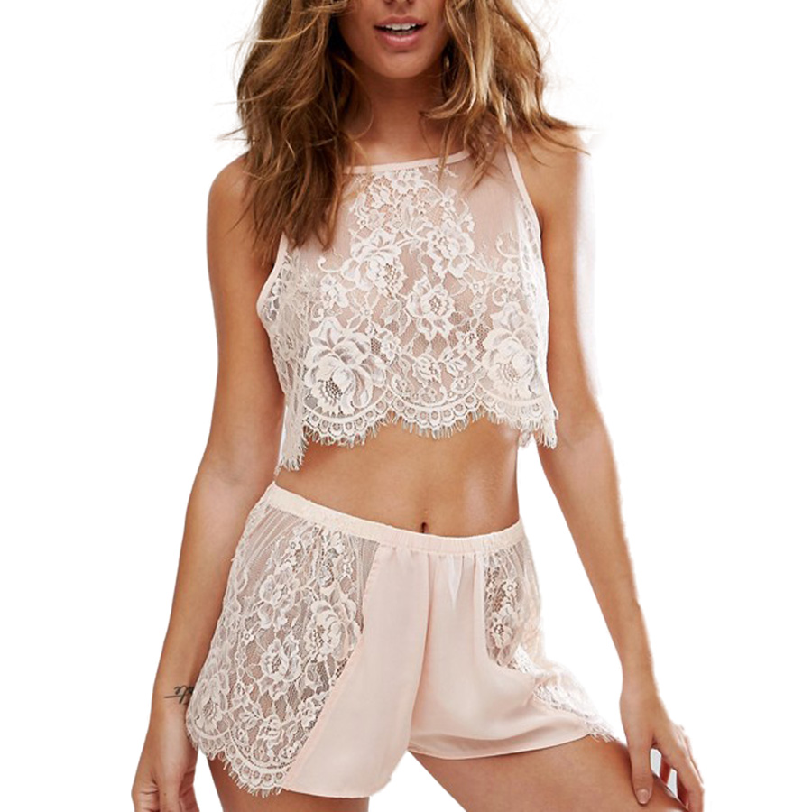 Lace Cami Top And Short Sexy Satin Pjamas Set See Through Lingerie Cute Home Wear 2 Piece Pajamas