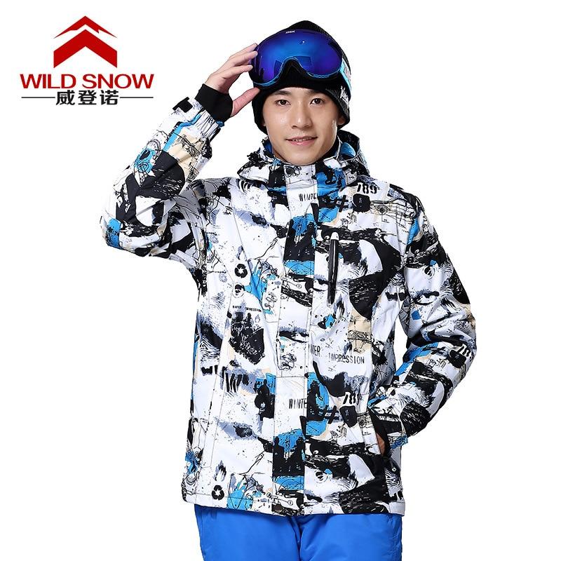 Wild Snow Outdoor Sports Wear Ink Painting Skiing Jacket For Men Winter Snowboard Suit Men's Warm Waterproof Windproof Clothes цена 2017