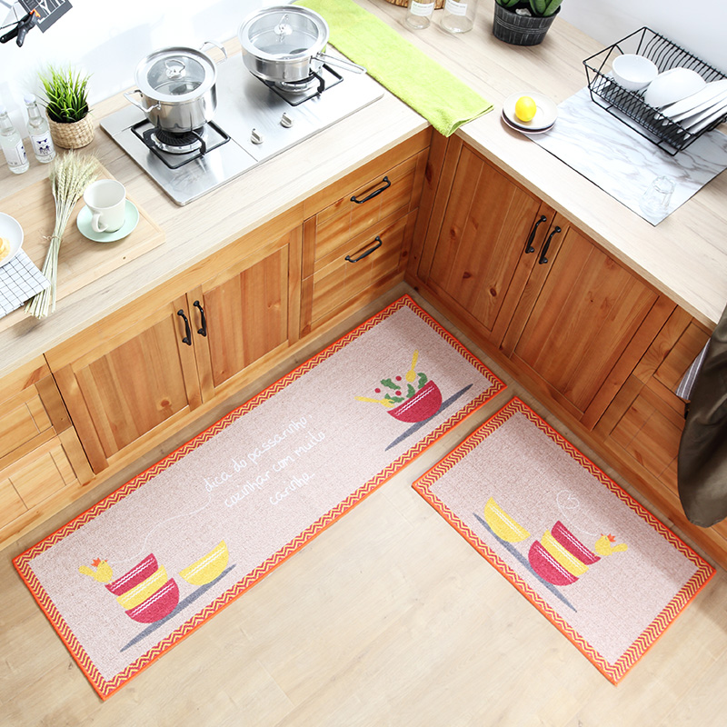 50x80CM 50x160CM Kitchen Rugs Mats Soft Polyester Cotton Non Slip Kitchen Floor Carpets Bathroom Entrance Doormat