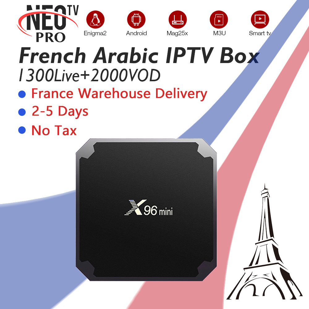 X96Mini con il Francese Arabo Belgio IPTV Neo IPTV 1g/8g e 2g/16g Wifi 4 k HD HDMI Android Smart iptv OTT Box nave da usa-Francia