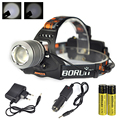 Sales Rechargeable Led Head  light 2000LM Zoom T6 Head Lamp LED Headlamp+2*18650 lithium ion battery +1 Charger+1 Car Charger