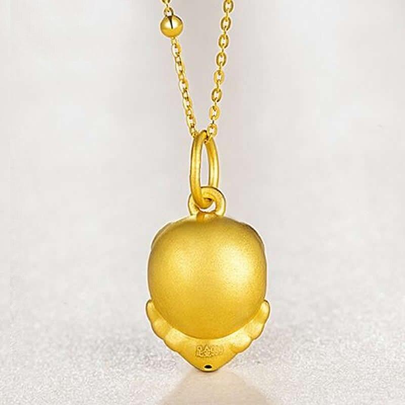 Новое поступление 24 K подвеска из желтого золота Китайский Зодиак милый сердце цепочка со Свинкой кулон - 3