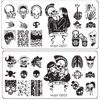 10Pcs Nail Art Stamping Printing Skull Style Stainless Steel Stamp For DIY Manicure Template Stencils JH461