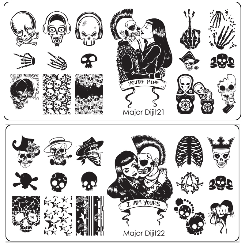10Pcs Nail Art Stamping Printing Skull Style Stainless Steel Stamp For DIY Manicure Template Stencils JH461-10pcs diy template stickers for nails charms flower heart bow stamping nail art manicure guide