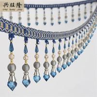 XWL 6M Lot 14cm Wide Beaded Fringe Trim For Curtain Tassel Lace Accessories DIY Crystal Ribbon