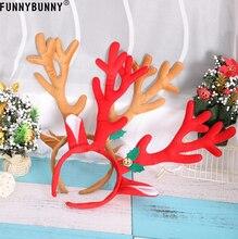 FUNNYBUNNY Cute Reindeer Antlers Headband, Headwear Hair Hoop For Christmas and Cosplay,Masquerade, Easter Party Headbands