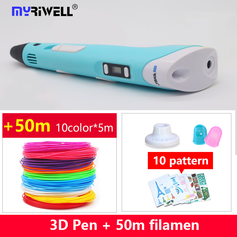 2018 Myriwell 3d pen 3d penne abs 1.75mm pla filamento display a led 3d magic pen progettato per bambini graffiti pen 10 color 50m