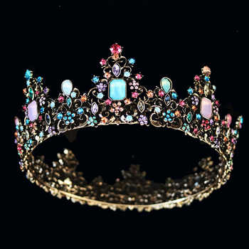 KMVEXO Baroque Royal Queen Crown Colorful Jelly Crystal Rhinestone Stone Wedding Tiara for Women Costume Bridal Hair Accessories - DISCOUNT ITEM  29% OFF All Category