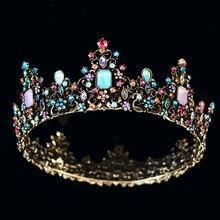 KMVEXO corona barroca de la Reina real colorida jalea cristal piedra de estrás boda Tiara para mujer disfraz accesorios para el cabello nupcial